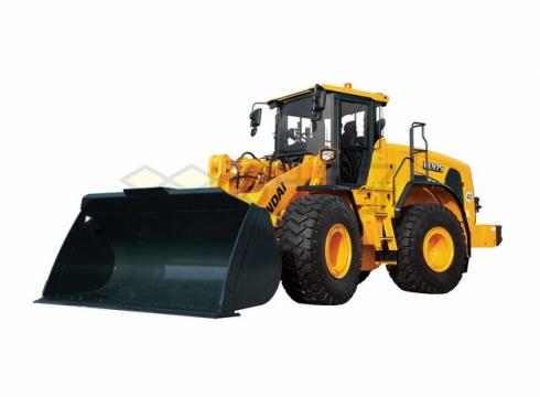 黄黑色的大型铲车推土机png图片素材