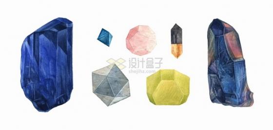 各种蓝水晶黄水晶钻石宝石水彩插画png图片素材
