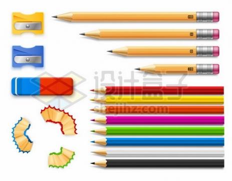 削铅笔刀卷笔刀橡皮檫和铅笔屑691430矢量图片免抠素材