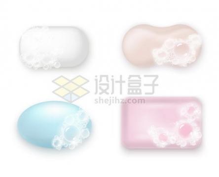 4款沾着泡沫的肥皂香皂733255png矢量图片素材