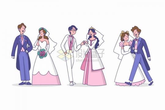 三对新人结婚新郎新娘卡通插画png图片免抠eps矢量素材