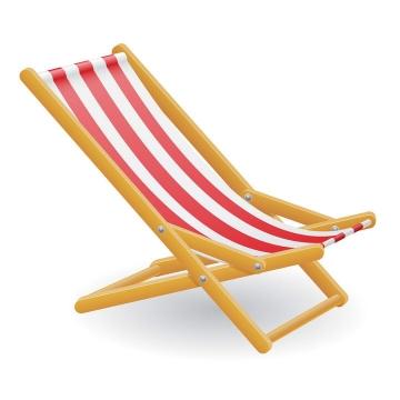 一张红白条纹状的沙滩椅图片免抠素材