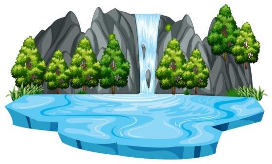 山上的瀑布和池塘以及树林自然景观图片免抠矢量素材