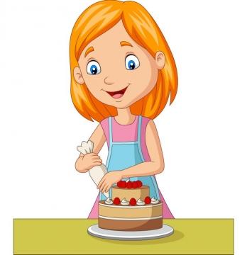 正在做奶油蛋糕生日蛋糕的卡通女孩图片免抠素材