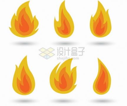 6款燃烧的火焰火苗图案扁平插画png图片免抠矢量素材