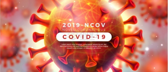 微观红色新型冠状病毒肺炎背景png图片免抠矢量素材