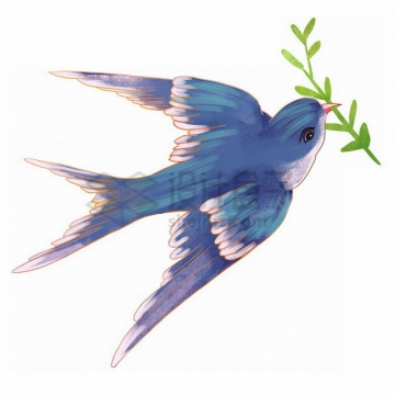 衔着青草的燕子彩绘插画png免抠图片素材