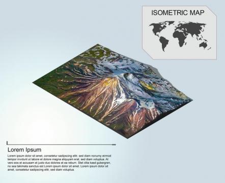 地理地质大雪覆盖的山顶地形地貌PS 3D模型图片模板