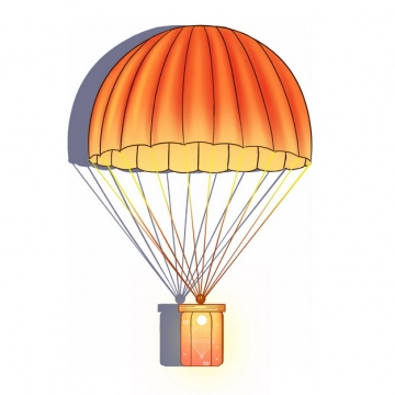 橙色降落伞吊着礼物插画998760png图片素材