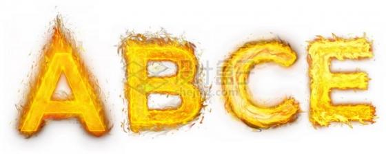 燃烧火焰组成的ABCE字母文字样机427149psd/png图片素材