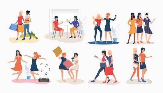 8款扁平插图风格好闺蜜之间一起购物跳舞玩耍图片免抠矢量素材