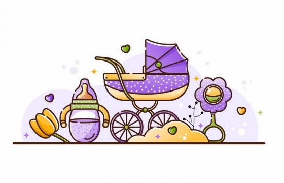 MBE风格紫色婴儿车奶瓶等婴儿用品png图片免抠素材