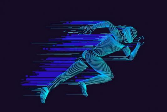 炫酷抽象蓝色线条奔跑中的男人png图片免抠矢量素材
