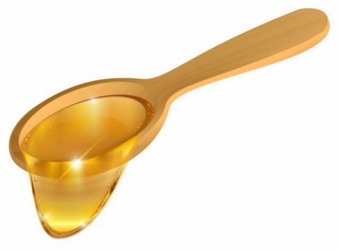 木头勺子上的蜂蜜png图片免抠素材
