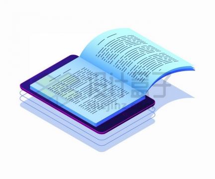 平板电脑上打开的书本象征了手机阅读png图片免抠矢量素材