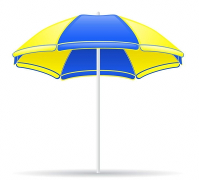 黄色蓝色相间的沙滩旅游遮阳伞沙滩伞图片免抠素材