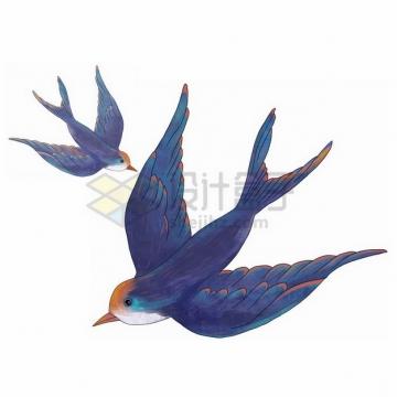 两只飞行中的燕子雨燕彩绘插画397321png免抠图片素材
