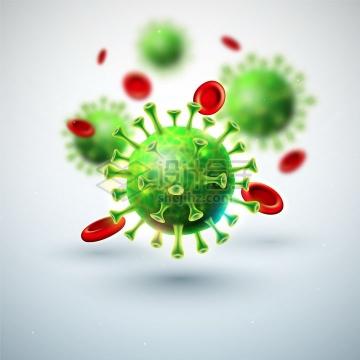 微观绿色新型冠状病毒肺炎和红细胞正方形背景png图片免抠矢量素材