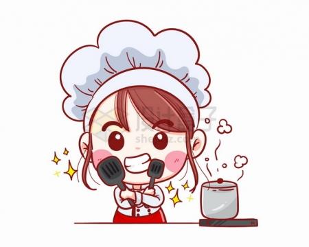 卡通美女小厨师拿着铲子做菜煮汤烹饪png图片素材