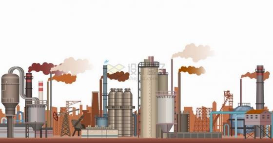 很多烟囱冒烟的化工厂企业png图片免抠矢量素材