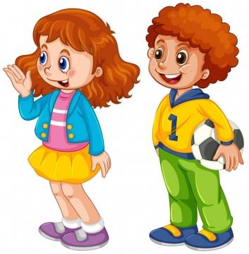 手绘卡通风格男孩和女孩儿童节图片免抠素材