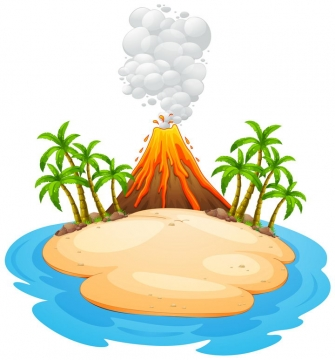 小岛上喷发的火山以及椰子树树林和沙滩自然景观图片免抠矢量素材