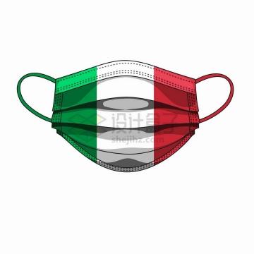 意大利国旗图案的一次性医用口罩png图片免抠矢量素材