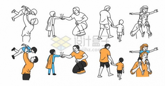 线条风格和孩子玩耍的爸爸父亲节插画385571png图片素材