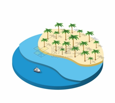 2.5D风格沙滩海滩海洋等景观圆形平台png图片免抠矢量素材