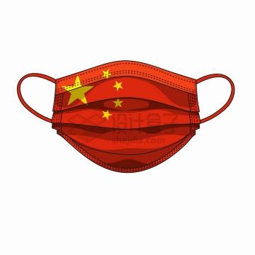 中国国旗五星红旗图案的一次性医用口罩png图片免抠矢量素材