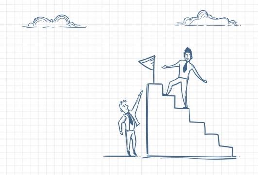 圆珠笔画涂鸦风格登上台阶的先进员工职场人际交往配图图片免抠矢量素材