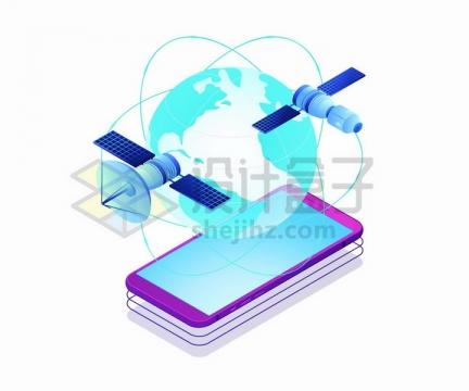2.5D风格智能手机上的蓝色地球模型和人造卫星png图片免抠矢量素材
