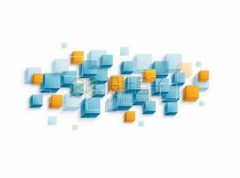 抽象蓝色黄色立方体装饰424061png图片素材