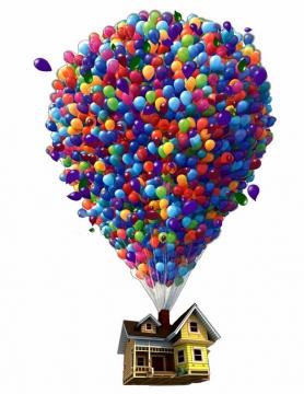 动画电影飞屋环游记中气球吊起屋子337113png图片免抠素材