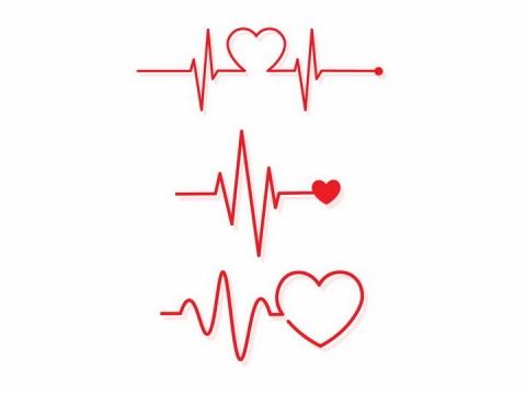 3款红色线条心电图心跳图组成了心形图案情人节心动png图片免抠eps矢量素材