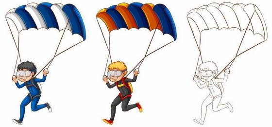 手绘风格打开降落伞跳伞的卡通男孩png图片免抠矢量素材