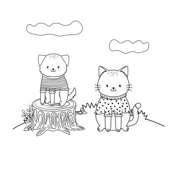 手绘穿着衣服的线条宠物猫宠物狗简笔画图片免抠素材