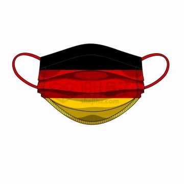 德国国旗图案的一次性医用口罩png图片免抠矢量素材