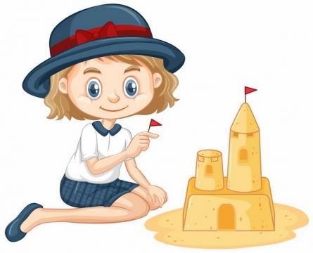 卡通小女孩用沙子堆城堡沙雕玩沙子png图片免抠矢量素材