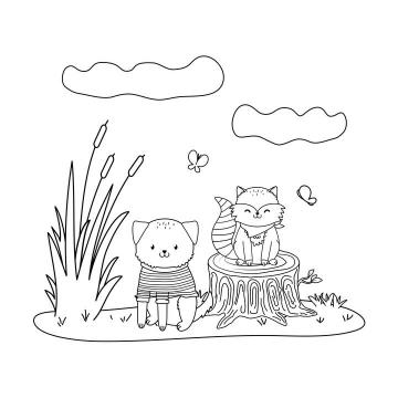 手绘风格穿着衣服的线条宠物猫宠物狐狸简笔画图片免抠素材