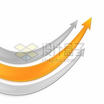 灰色和橙色向上箭头432469png图片素材