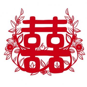 红双喜红色剪纸482343 png图片素材