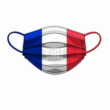 法国国旗图案的一次性医用口罩png图片免抠矢量素材