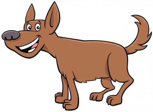 卡通微笑的哈巴狗宠物狗图片免抠素材