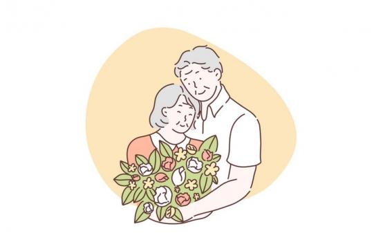 手绘彩色上色线条漫画风格拥抱在一起的爷爷奶奶图片免抠素材