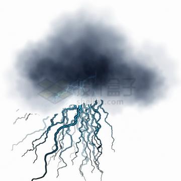 乌云和蓝色闪电效果png图片素材