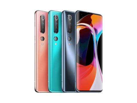 排列在一起的四种颜色的小米10Pro手机png图片免抠素材