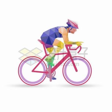 彩色多边形组成的专业自行车赛车手png图片免抠矢量素材