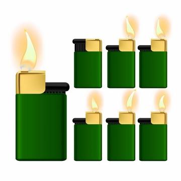 各种燃烧火焰火苗的绿色打火机png图片免抠矢量素材