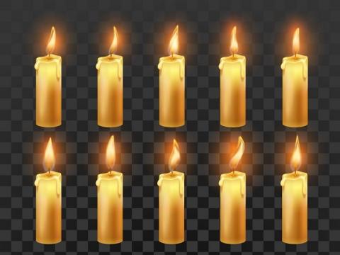 各种燃烧着火苗的蜡烛图片免抠矢量素材